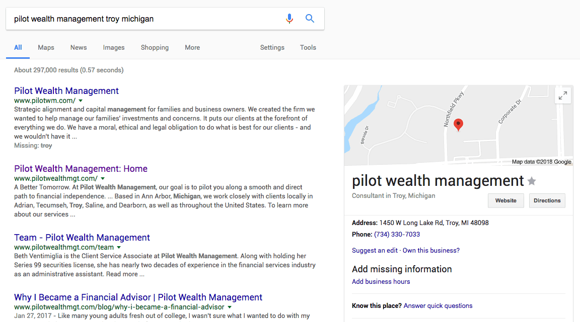 SEO for Financial Advisors Search Results