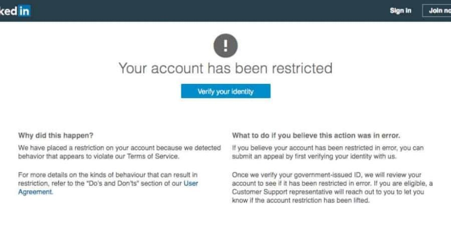 LinkedIn Account Restricted