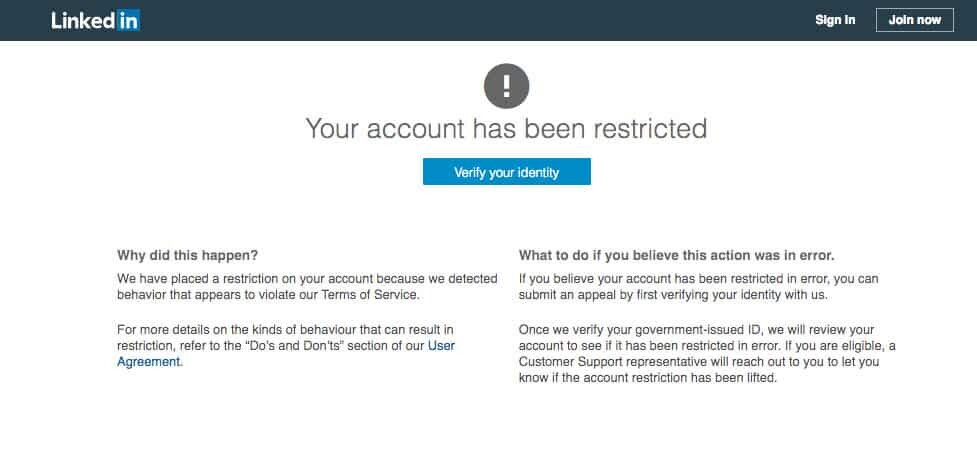 Your LinkedIn Account Been Restricted