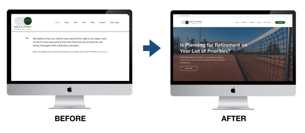 Financial Advisor Websites Before and After
