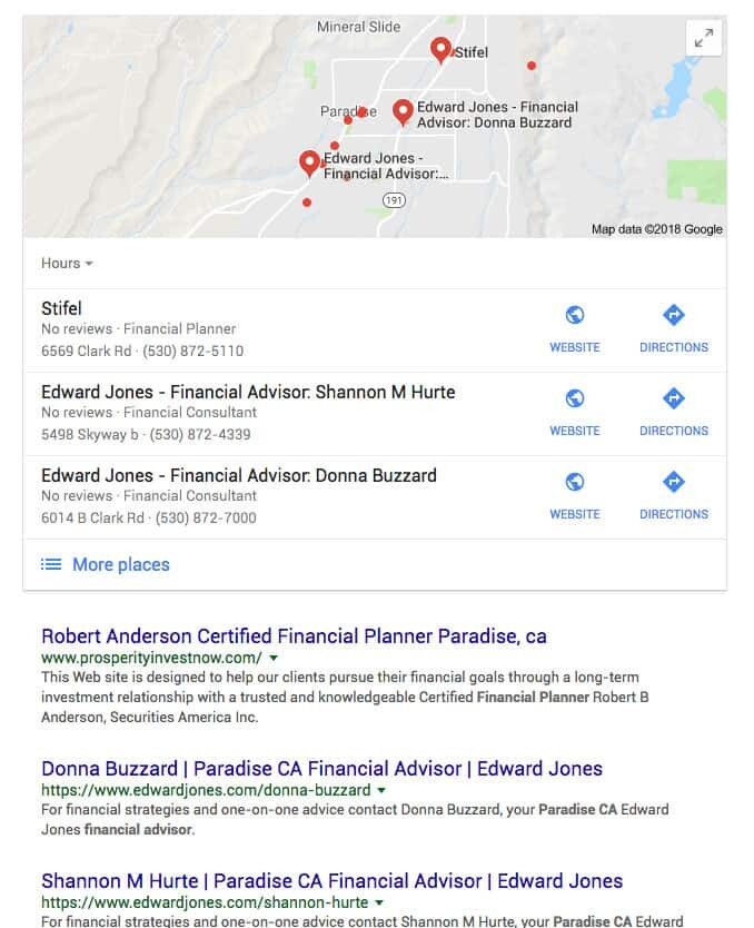 Seo for financial advisors local results